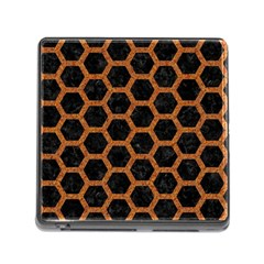Hexagon2 Black Marble & Rusted Metal (r) Memory Card Reader (square)