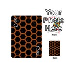 HEXAGON2 BLACK MARBLE & RUSTED METAL (R) Playing Cards 54 (Mini)  Front - Spade3