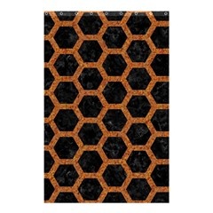 Hexagon2 Black Marble & Rusted Metal (r) Shower Curtain 48  X 72  (small)  by trendistuff