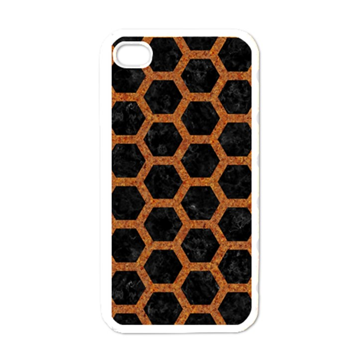 HEXAGON2 BLACK MARBLE & RUSTED METAL (R) Apple iPhone 4 Case (White)