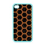 HEXAGON2 BLACK MARBLE & RUSTED METAL (R) Apple iPhone 4 Case (Color) Front