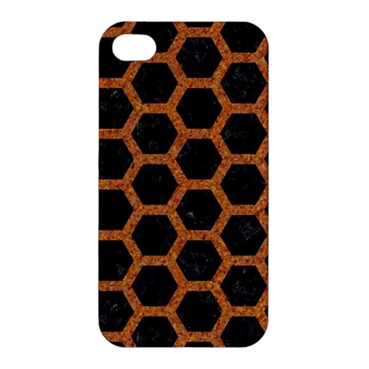 HEXAGON2 BLACK MARBLE & RUSTED METAL (R) Apple iPhone 4/4S Hardshell Case