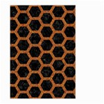 HEXAGON2 BLACK MARBLE & RUSTED METAL (R) Large Garden Flag (Two Sides) Back