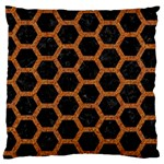 HEXAGON2 BLACK MARBLE & RUSTED METAL (R) Large Cushion Case (One Side) Front