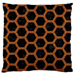 Hexagon2 Black Marble & Rusted Metal (r) Large Cushion Case (two Sides) by trendistuff