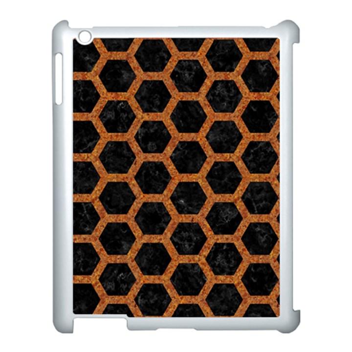 HEXAGON2 BLACK MARBLE & RUSTED METAL (R) Apple iPad 3/4 Case (White)