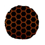 HEXAGON2 BLACK MARBLE & RUSTED METAL (R) Standard 15  Premium Round Cushions Front