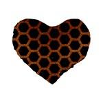 HEXAGON2 BLACK MARBLE & RUSTED METAL (R) Standard 16  Premium Heart Shape Cushions Front
