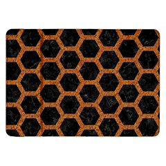 Hexagon2 Black Marble & Rusted Metal (r) Samsung Galaxy Tab 8 9  P7300 Flip Case by trendistuff