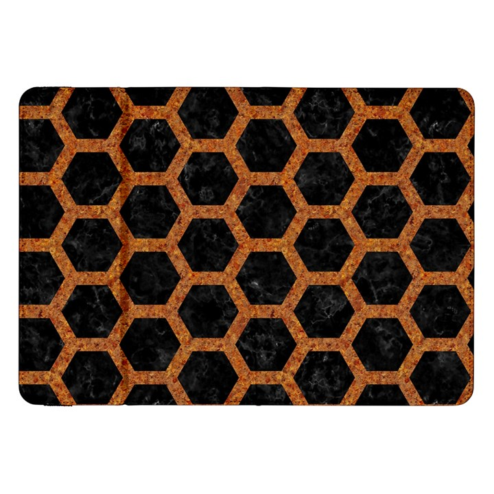 HEXAGON2 BLACK MARBLE & RUSTED METAL (R) Samsung Galaxy Tab 8.9  P7300 Flip Case