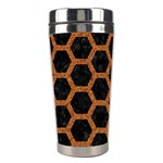 HEXAGON2 BLACK MARBLE & RUSTED METAL (R) Stainless Steel Travel Tumblers Left