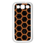 HEXAGON2 BLACK MARBLE & RUSTED METAL (R) Samsung Galaxy S3 Back Case (White) Front