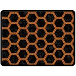 HEXAGON2 BLACK MARBLE & RUSTED METAL (R) Double Sided Fleece Blanket (Large)  80 x60 Blanket Front