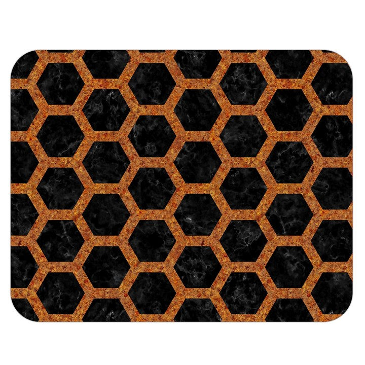HEXAGON2 BLACK MARBLE & RUSTED METAL (R) Double Sided Flano Blanket (Medium)