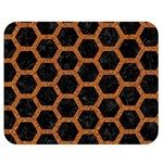 HEXAGON2 BLACK MARBLE & RUSTED METAL (R) Double Sided Flano Blanket (Medium)  60 x50 Blanket Back