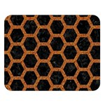 HEXAGON2 BLACK MARBLE & RUSTED METAL (R) Double Sided Flano Blanket (Large)   Blanket Back