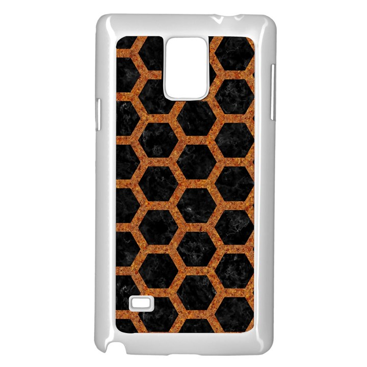 HEXAGON2 BLACK MARBLE & RUSTED METAL (R) Samsung Galaxy Note 4 Case (White)