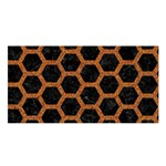 HEXAGON2 BLACK MARBLE & RUSTED METAL (R) Satin Shawl Front