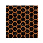 HEXAGON2 BLACK MARBLE & RUSTED METAL (R) Small Satin Scarf (Square) Front