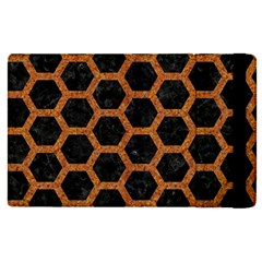 Hexagon2 Black Marble & Rusted Metal (r) Apple Ipad Pro 9 7   Flip Case