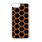 HEXAGON2 BLACK MARBLE & RUSTED METAL (R) Apple iPhone 7 Plus White Seamless Case Front
