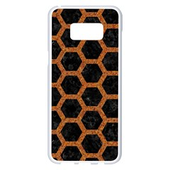 Hexagon2 Black Marble & Rusted Metal (r) Samsung Galaxy S8 Plus White Seamless Case by trendistuff