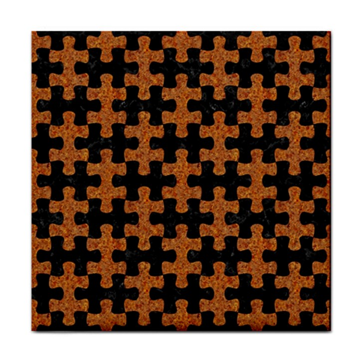 PUZZLE1 BLACK MARBLE & RUSTED METAL Tile Coasters