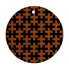 Puzzle1 Black Marble & Rusted Metal Ornament (round)
