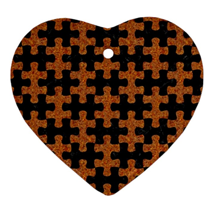PUZZLE1 BLACK MARBLE & RUSTED METAL Ornament (Heart)