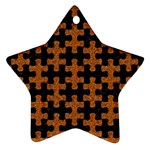 PUZZLE1 BLACK MARBLE & RUSTED METAL Ornament (Star) Front