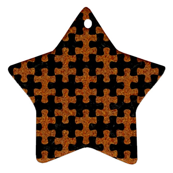 PUZZLE1 BLACK MARBLE & RUSTED METAL Ornament (Star)