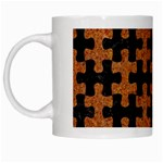 PUZZLE1 BLACK MARBLE & RUSTED METAL White Mugs Left