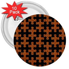 Puzzle1 Black Marble & Rusted Metal 3  Buttons (10 Pack)