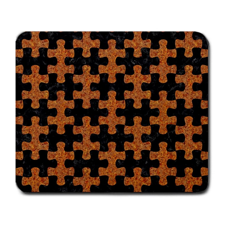 PUZZLE1 BLACK MARBLE & RUSTED METAL Large Mousepads
