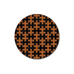 Puzzle1 Black Marble & Rusted Metal Magnet 3  (round) by trendistuff