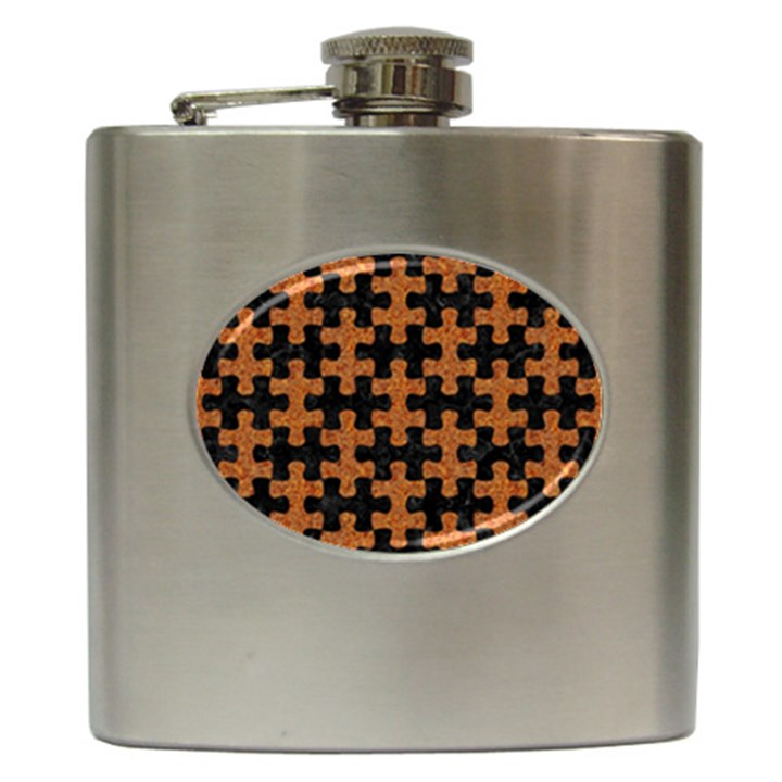 PUZZLE1 BLACK MARBLE & RUSTED METAL Hip Flask (6 oz)
