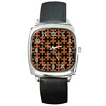 PUZZLE1 BLACK MARBLE & RUSTED METAL Square Metal Watch Front