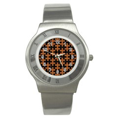 Puzzle1 Black Marble & Rusted Metal Stainless Steel Watch by trendistuff