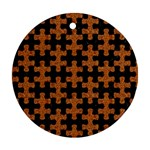 PUZZLE1 BLACK MARBLE & RUSTED METAL Round Ornament (Two Sides) Back