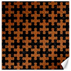 Puzzle1 Black Marble & Rusted Metal Canvas 20  X 20