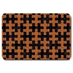 Puzzle1 Black Marble & Rusted Metal Large Doormat  by trendistuff