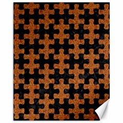 Puzzle1 Black Marble & Rusted Metal Canvas 11  X 14