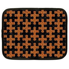 Puzzle1 Black Marble & Rusted Metal Netbook Case (large) by trendistuff