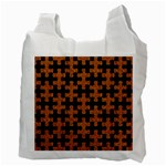 PUZZLE1 BLACK MARBLE & RUSTED METAL Recycle Bag (Two Side)  Back