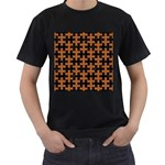 PUZZLE1 BLACK MARBLE & RUSTED METAL Men s T-Shirt (Black) Front