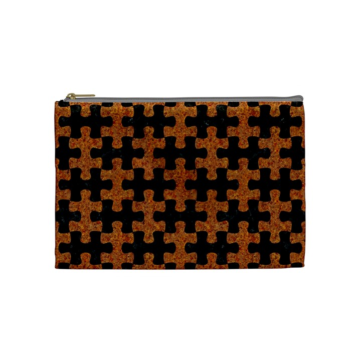 PUZZLE1 BLACK MARBLE & RUSTED METAL Cosmetic Bag (Medium)