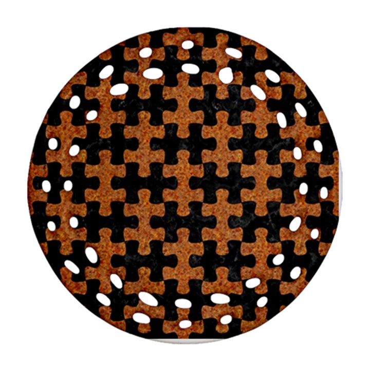 PUZZLE1 BLACK MARBLE & RUSTED METAL Ornament (Round Filigree)