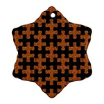 PUZZLE1 BLACK MARBLE & RUSTED METAL Snowflake Ornament (Two Sides) Back