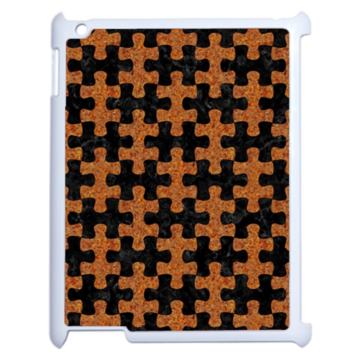 PUZZLE1 BLACK MARBLE & RUSTED METAL Apple iPad 2 Case (White)