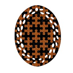 Puzzle1 Black Marble & Rusted Metal Oval Filigree Ornament (two Sides)